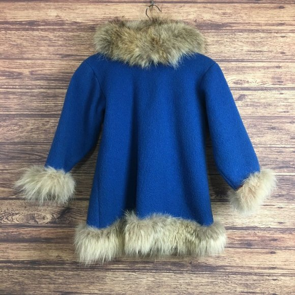 Childs Handmade Winter Real Fur Wool Coat Jacket